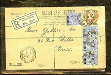 BRITISH LEVANT (P1206B) 1907 RLE 1 PI+KE 1 PIX4  CONSTANTINOPLE TO PARIS
