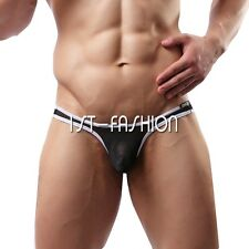 Men's Mesh Bulge Pouch Bikini Semi-see Through T-back Underwear Panties Trunks
