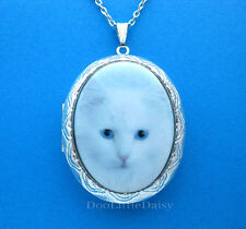 CATS Porcelain WHITE SIBERIAN CAT CAMEO Costume Jewelry Locket Pendant Necklace