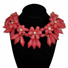 Statement Collier Halskette Luxus Chunky Kette Kristall Optik Blume rosa rot mat