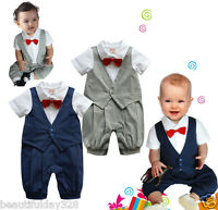 Baby Boy All-in-One Bodysuit Outfit Christening Wedding Birthday Party Bow Tie