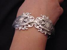 ANTIQUE OLD COLONY HINGED CUFF BRACELET TRIPLE PLATED STERLING SILVER FORKS!