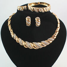 African Costume Gold Plated Rhinestone Wedding Party Necklace Jewelry Sets