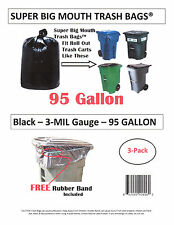 95 Gallon Roll Cart Trash Bags Super Big Mouth Bags® FREE SHIPPING 3-MIL - 3-Pk