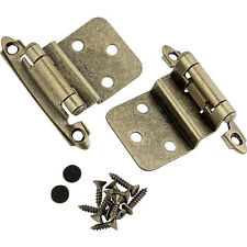 """3/8"""" Inset Surface Mount Hinges - Antique Brass - pair"""