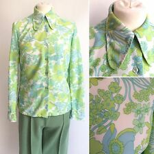 Vintage 1960s Large Collar Green Psychedelic Blouse Nylon Size 10 12