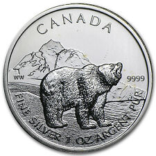 2011 1 oz Silver Canadian Wildlife Series - Grizzly - Spotted