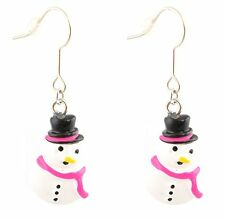 Zest Christmas Snowman With Hot Pink Scarf Drop Earrings for Pierced Ears