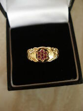9 CARAT YELLOW GOLD RUBY SET DRESS RING MADE IN ENGLAND PURE QUALITY