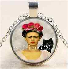 Frida Kahlo and Black Cat Cabochon Glass Tibet Silver Chain Pendant Necklace#256
