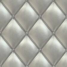 Wallpaper Grandeco Exposed Warehouse chesterfield-look leather silver PE-01-03-2