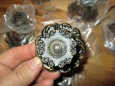 "6 VTG 1 1/2"" METAL Flower Dresser Drawer Knobs Cabinet Pulls& Back Plate LOT NOS"