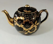 Price Bros. England China Teapot Tea Pot Black & Gilt Gold Flowers #588