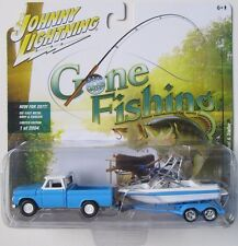 JOHNNY LIGHTNING GONE FISHING 1965 CHEVY TRUCK w/BOAT & TRAILER R1A 1/2,004 A