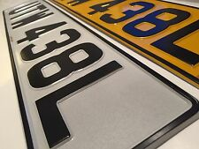 Pressed Metal Number Plates 100% UK Legal Pair Embossed 520x110mm Reg Licence