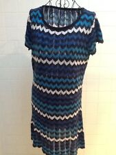 Target Size 10 Blue White Black Knit Tunic Casual Stretch Dress Size 10 Preloved