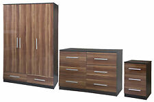 High Gloss Walnut / Black Oak Large 3 Door Mirrored Set Bedroom Furniture Range