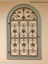 Large Metal Wood Arch Wall Panel Green Antique Vintage Rustic Industrial Decor