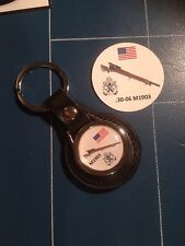 American WWII Springfield SNIPER RIFLE  REAL LEATHER KEY RING  &  Sticker