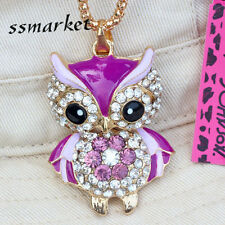 Betsey Johnson Fashion Purple Owl Pendant Gold Chain Rhinestone Necklace