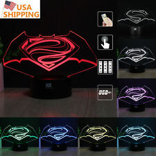 Batman vs Superman 3D Acrylic LED 7Color Night Light Touch Desk Table Lamp Gift
