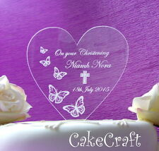 Christening Baptism Engraved Acrylic Personalised cake toppers decorations