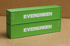 2 Walthers #8258, UPGRADED HO 40' corrugated Containers, Evergreen