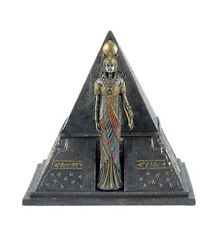 "6.75"" Egyptian Queen & Pyramid Trinket Box Egypt Decor Statue Home Sculpture"