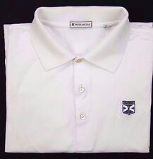 PETER Millar WHITE Polo SHIRT Large COTTON Mens KINLOCH Golf CLUB Size SZ Man***