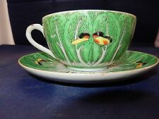 "ANTIQUE CHINESE EXPORT ""FAMILLE VERTE"" CABBAGE LEAF & BUTTERFLIES CUP AND SAUCER"