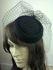 black felt mini pill box hat black veiling french veil fascinator wedding race