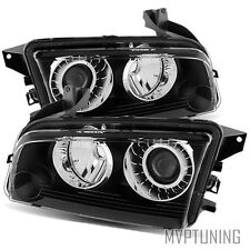 For 08-10 Dodge Charger (Stock HID) Left+Right Black Crystal Headlights Lamps