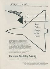 1952 Hawker Siddley Aviation Ad Avro 707 Delta Wing Design Jet Fighter England