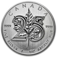 2013 1 oz Silver Canadian Maple Leaf Coin - 25th Anniversary - SKU #79602