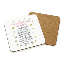 REASONS TO BE A UNICORN DRINKS COASTER MAT CORK SQUARE