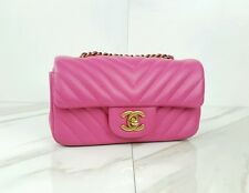 AUTHENTIC Chanel Extra Mini Flap Crossbody Bag Pink Fuchsia Chevron Lambskin EUC