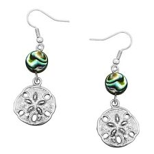 Sand Dollar Fashionable Earrings - Fish Hook - Abalone Paua Shell