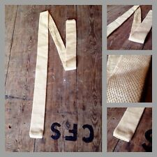 Vintage 60's 70's Cream Wool Straight Skinny Classic Tie Mod Carnaby