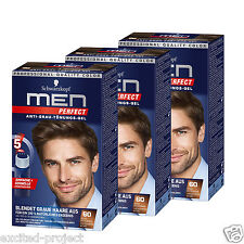 3 x Schwarzkopf Men Perfect Just For Men Gentle Hair Color Gel - Medium Brown 60