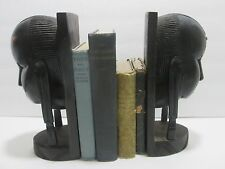 OLD VINTAGE HAND CARVED EBONY WOOD SCULPTURE AFRICAN TRIBAL BOOKENDS