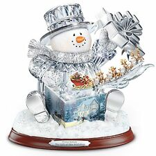 THOMAS KINKADE CRYSTAL SNOWMAN MUSIC & LIGHTS CHRISTMAS HOLIDAY DECOR NEW
