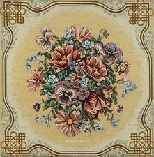 """20"""" DECORATIVE TAPESTRY PILLOW COVER Pansy Flowers EUROPEAN CUSHION ACCENT"""