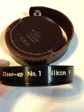 Nikkor F Close-Up Filter Lense Nikon No. 1 52mm & Brown Leather Case