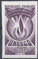SERVICE N°39 DROITS DE L'HOMME ESSAI COULEUR MAUVE PROOF IMPERF 1969 NEUF ** MNH