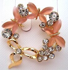 Women/Girls Crystal Rhinestone/Pearl Butterfly/Bow Brooch new