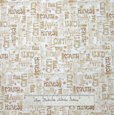 Happy Harvest Fabric - Fall Autumn Food Word Beige - Red Rooster Cotton Quilt Yd