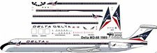 Delta McDonnell Douglas delivery MD-88 airliner decals for Minicraft 1/144 kits