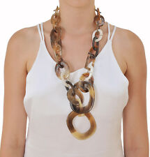 CHUNKY FASHION LONG CHAIN DUNCAN STYLE BUFFALO HORN NECKLACE JEWELRY HANDMADE