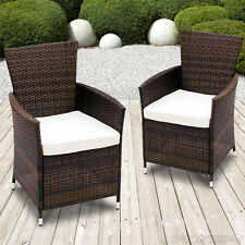 2 Poly Rattan Chairs Set Lounge Wicker Garden Patio Outdoor Furniture Brown