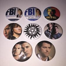8 Supernatural button badges Sam Dean Winchester Castiel Crowley Cult TV